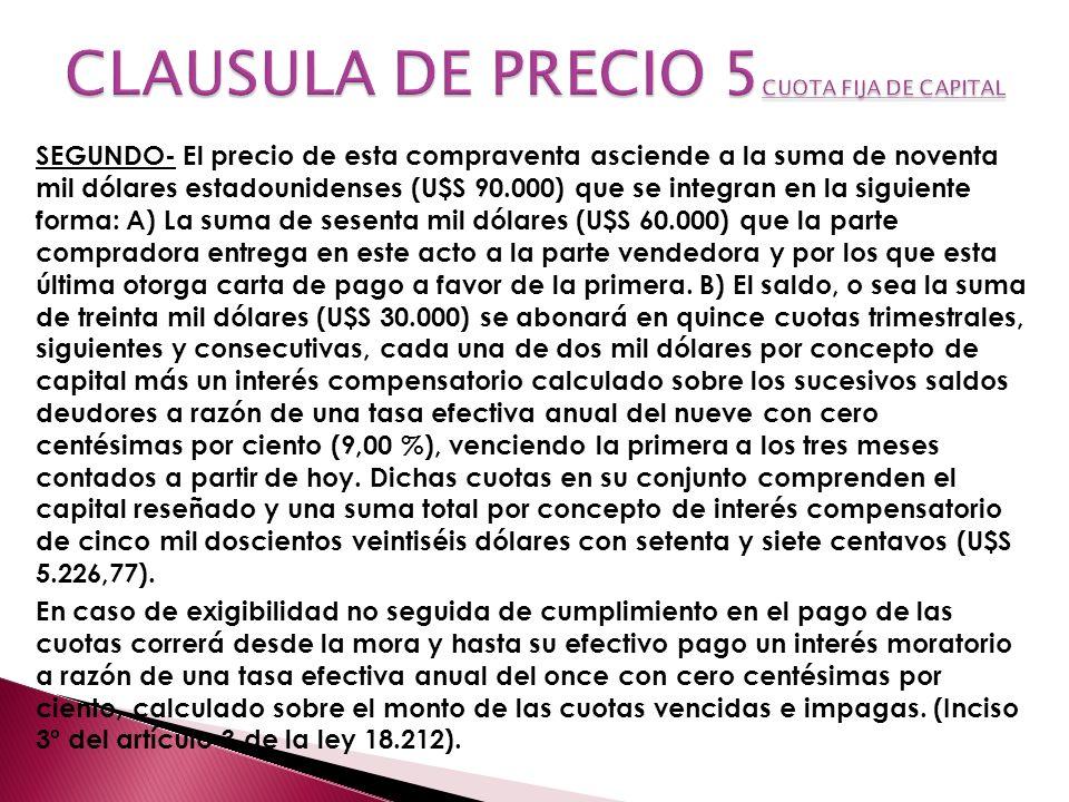 CLAUSULA DE PRECIO 5CUOTA FIJA DE CAPITAL