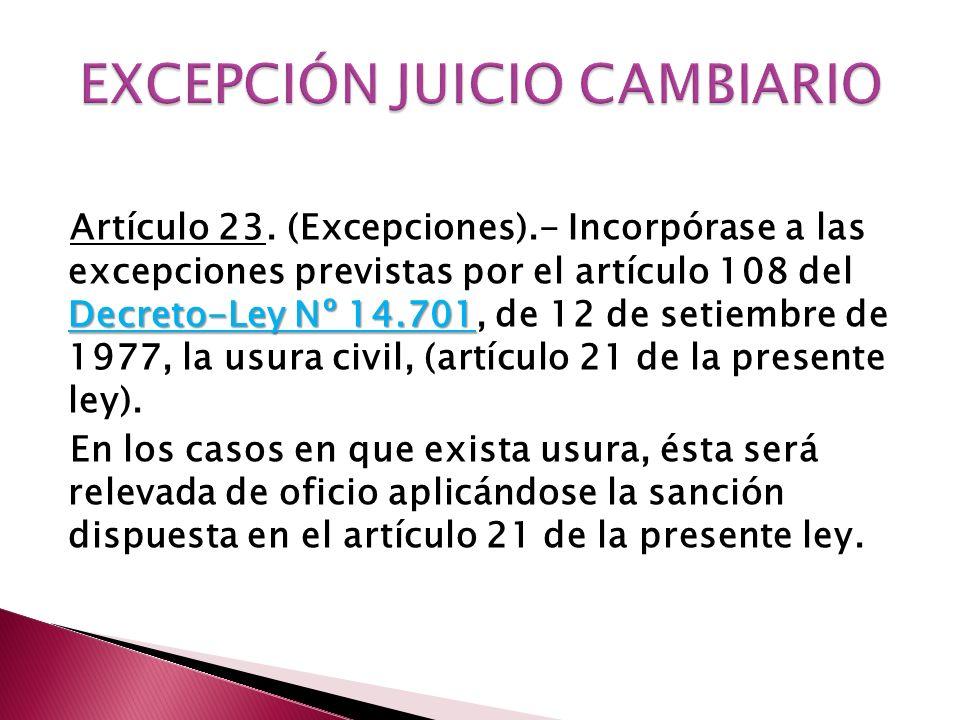 EXCEPCIÓN JUICIO CAMBIARIO