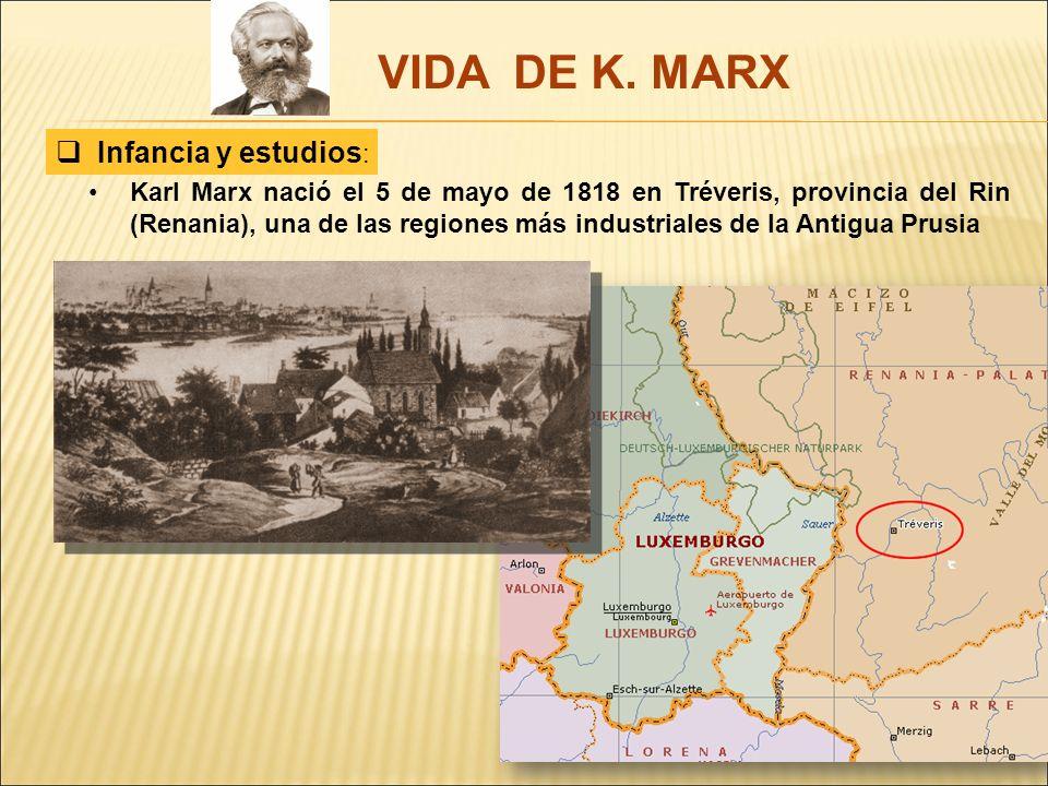 VIDA DE K. MARX Infancia y estudios: