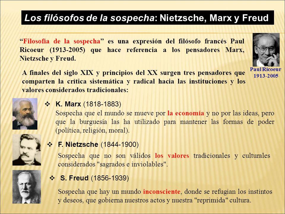 Los filósofos de la sospecha: Nietzsche, Marx y Freud.