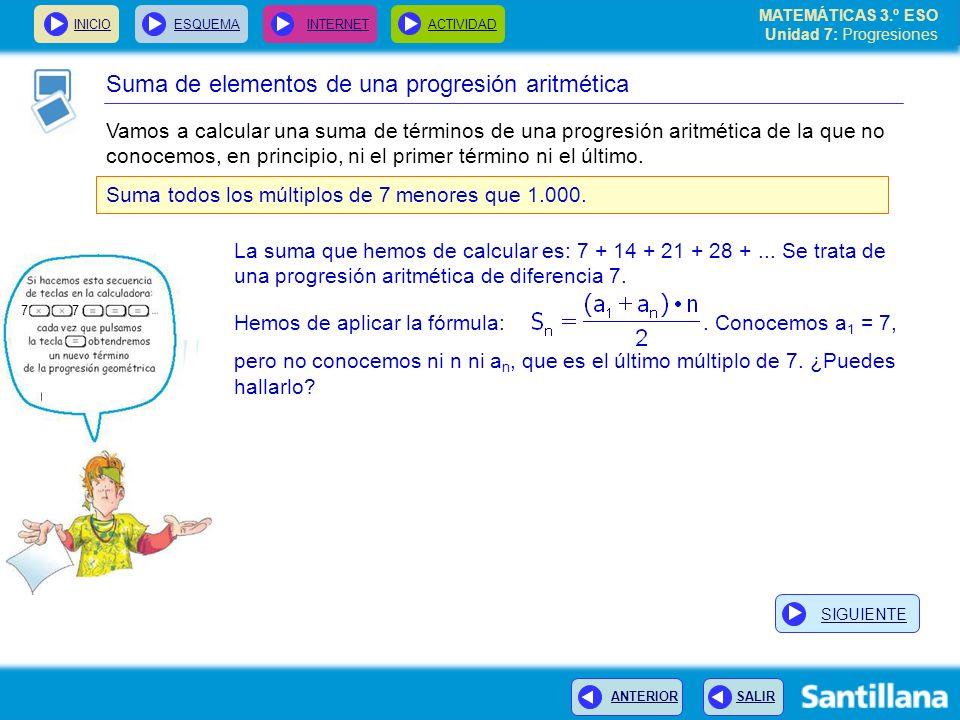 Suma de elementos de una progresión aritmética