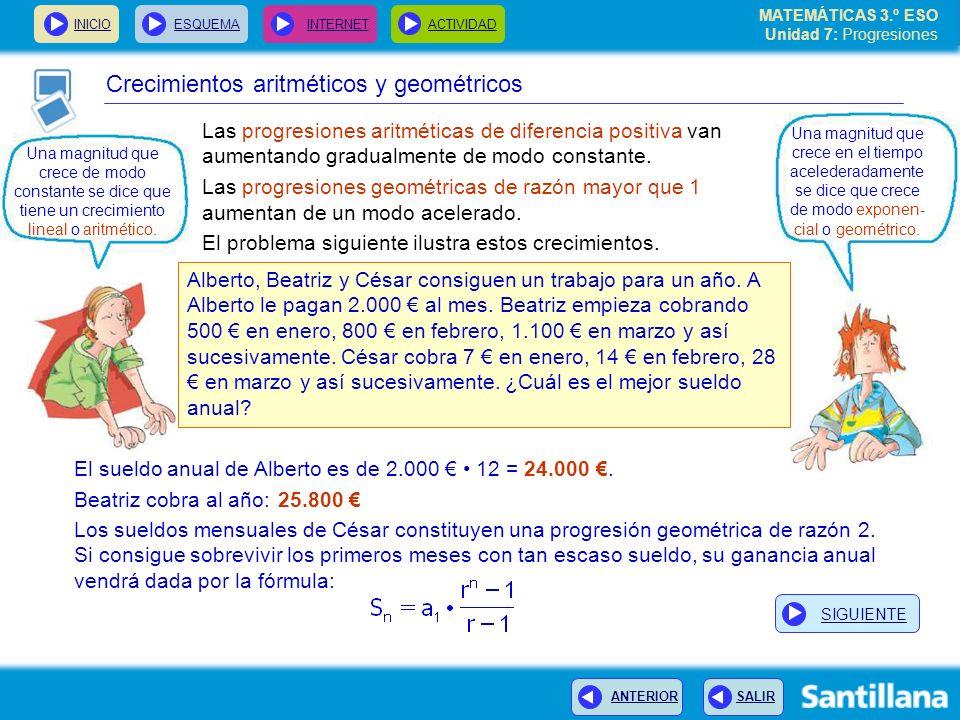 Crecimientos aritméticos y geométricos