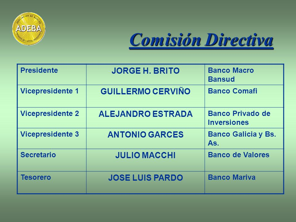 Comisión Directiva JORGE H. BRITO GUILLERMO CERVIÑO ALEJANDRO ESTRADA