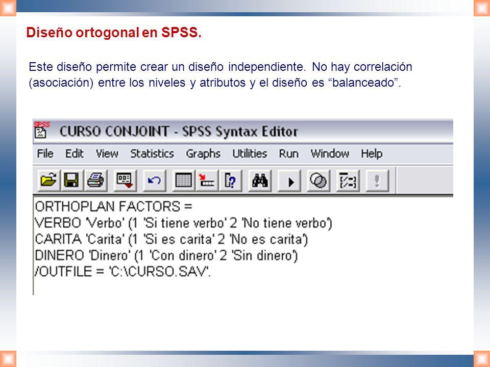 Diseño ortogonal en SPSS.
