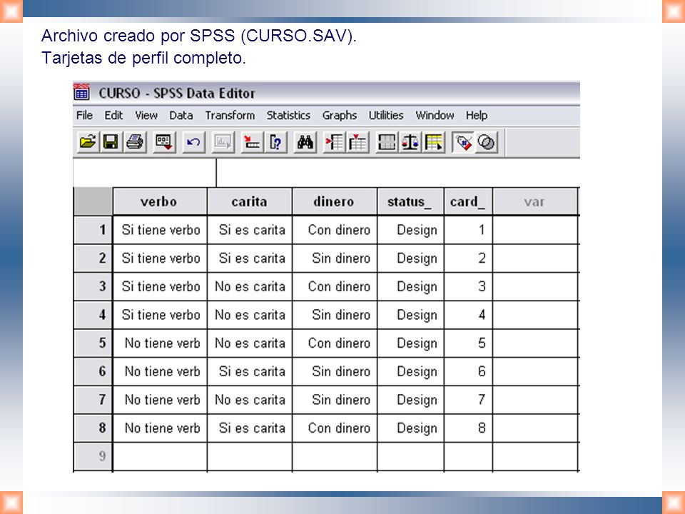 Archivo creado por SPSS (CURSO.SAV). Tarjetas de perfil completo.