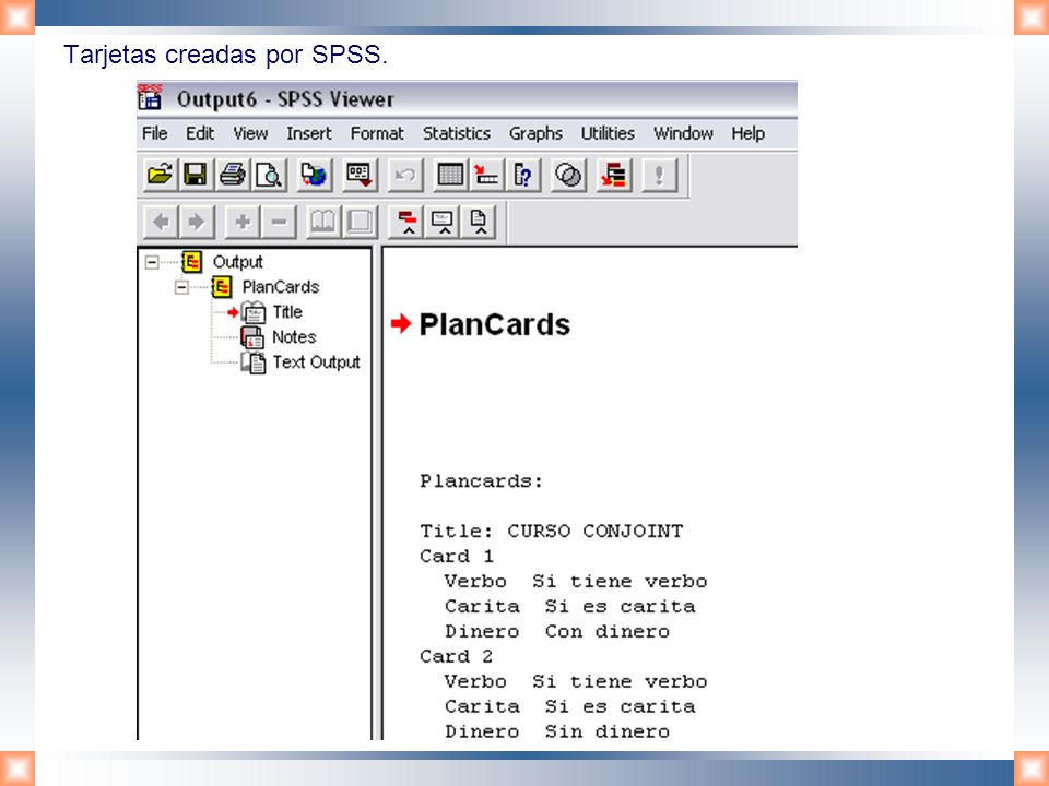 Tarjetas creadas por SPSS.