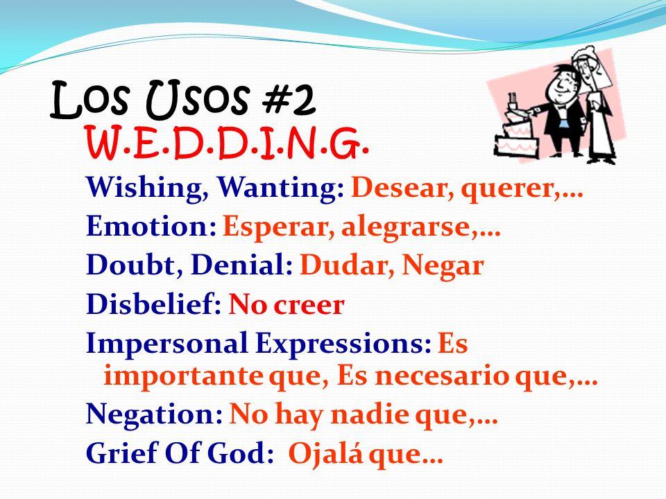 Los Usos #2 W.E.D.D.I.N.G. Wishing, Wanting: Desear, querer,…