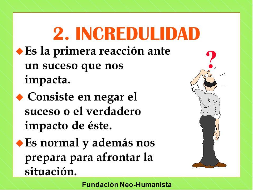 2. INCREDULIDAD Es la primera reacción ante un suceso que nos impacta. Consiste en negar el suceso o el verdadero impacto de éste.