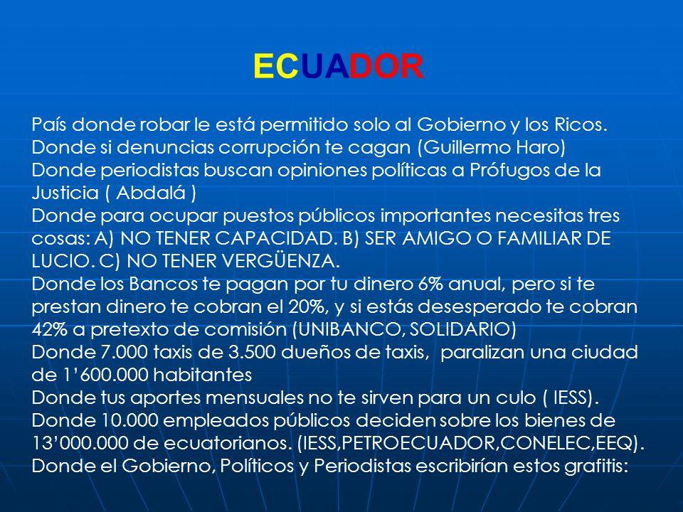 ECUADOR País donde robar le está permitido solo al Gobierno y los Ricos. Donde si denuncias corrupción te cagan (Guillermo Haro)