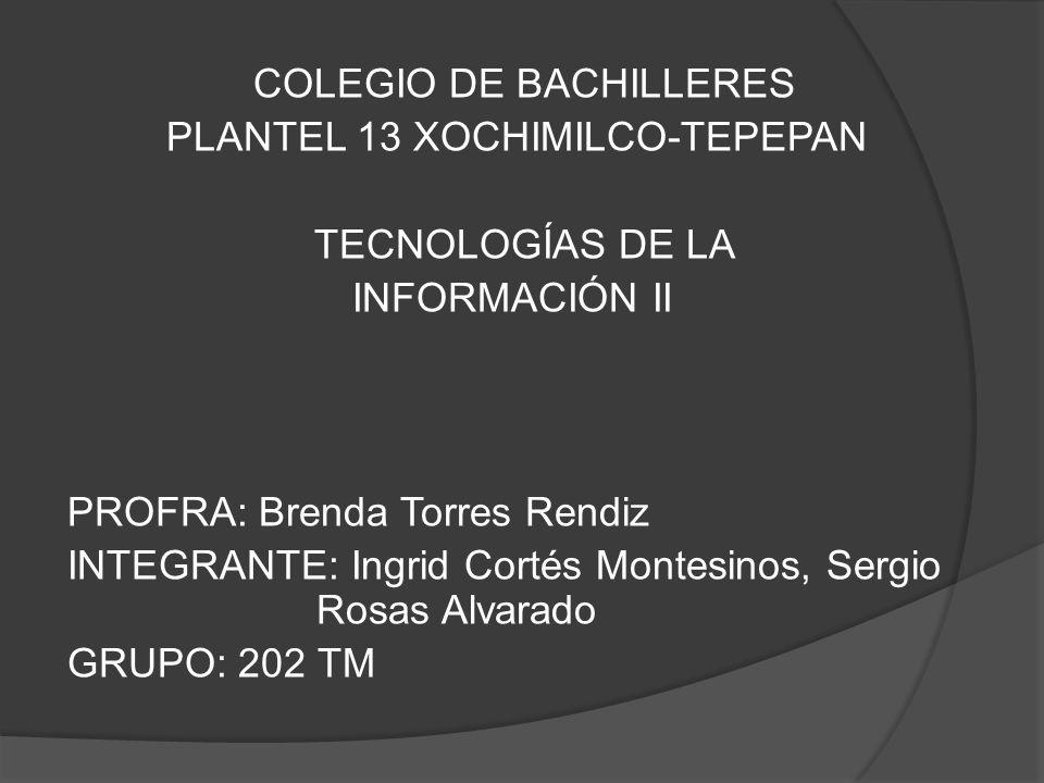 COLEGIO DE BACHILLERES PLANTEL 13 XOCHIMILCO-TEPEPAN TECNOLOGÍAS DE LA