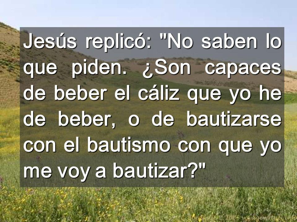 Jesús replicó: No saben lo que piden
