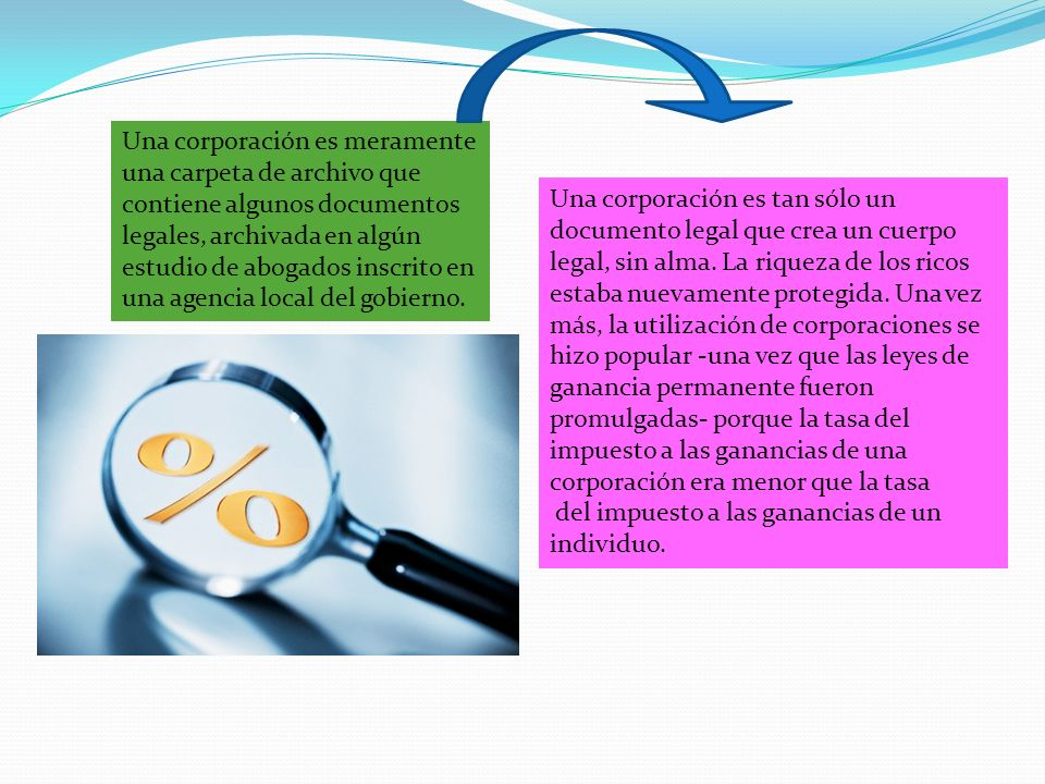 Una corporación es meramente una carpeta de archivo que contiene algunos documentos legales, archivada en algún estudio de abogados inscrito en una agencia local del gobierno.