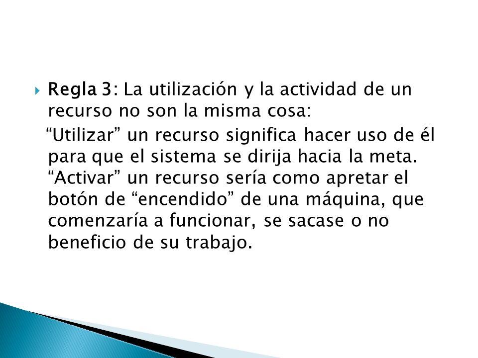 Regla 3: La utilización y la actividad de un recurso no son la misma cosa: