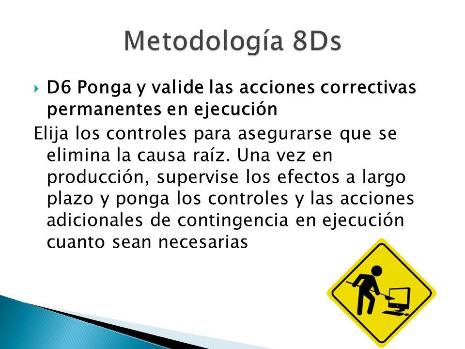 Metodología 8Ds D6 Ponga y valide las acciones correctivas permanentes en ejecución.