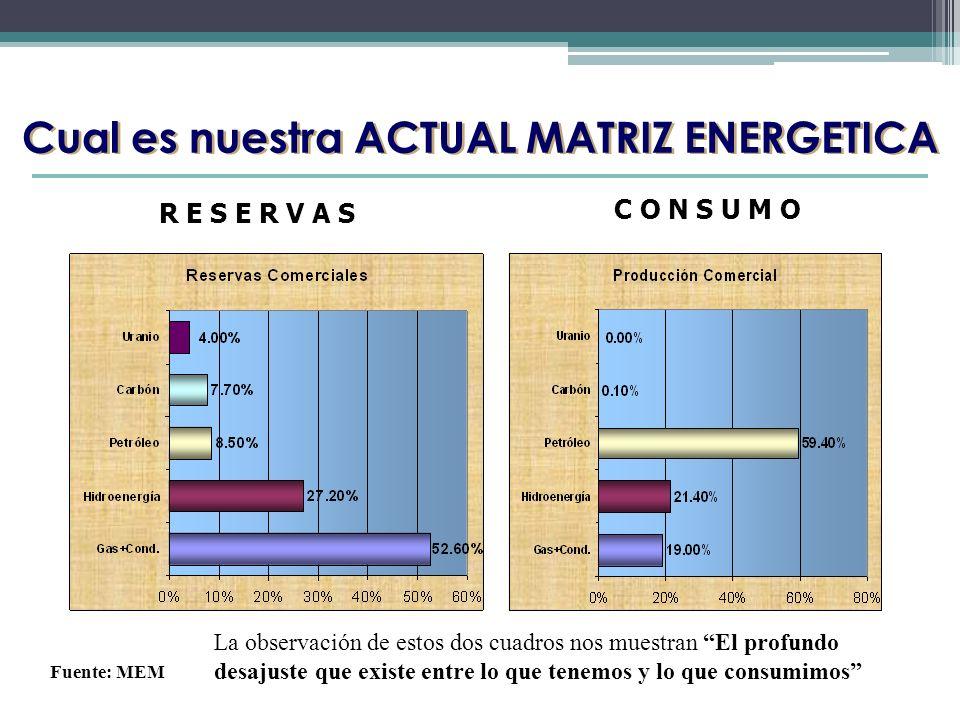 Cual es nuestra ACTUAL MATRIZ ENERGETICA