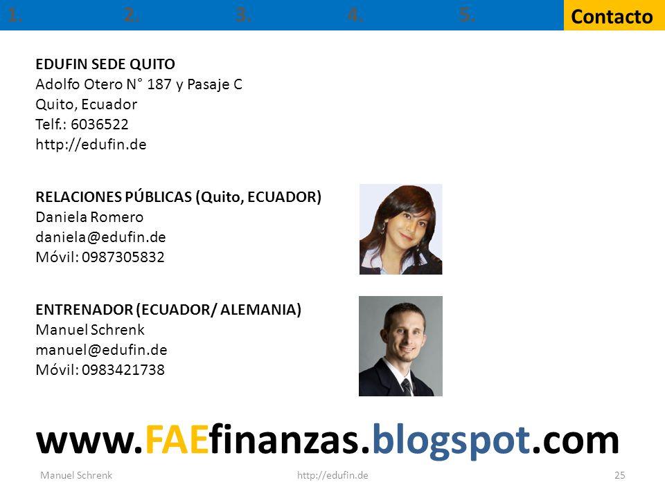 www.FAEfinanzas.blogspot.com 1. 2. 3. 4. 5. Contacto EDUFIN SEDE QUITO