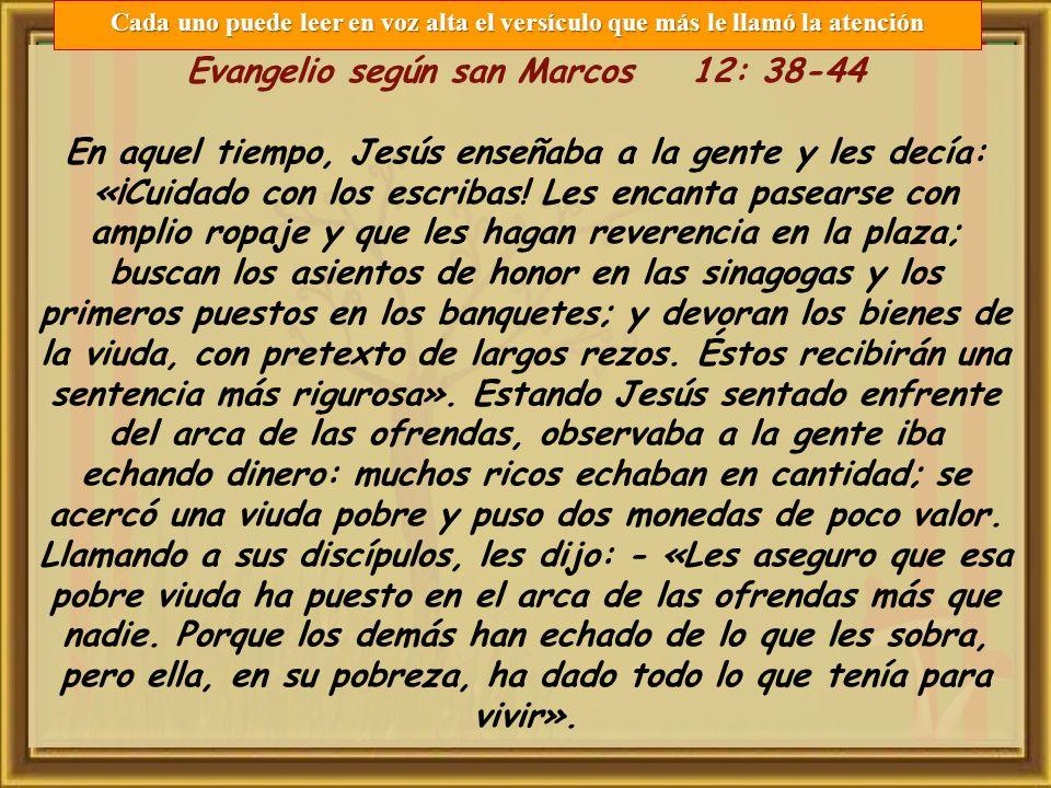 Evangelio según san Marcos 12: 38-44