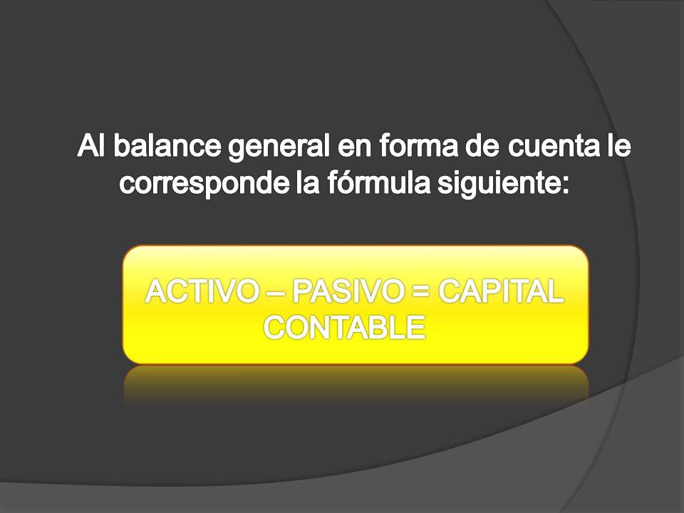 ACTIVO – PASIVO = CAPITAL CONTABLE