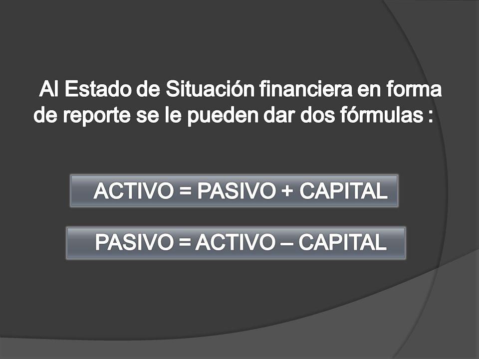 ACTIVO = PASIVO + CAPITAL PASIVO = ACTIVO – CAPITAL