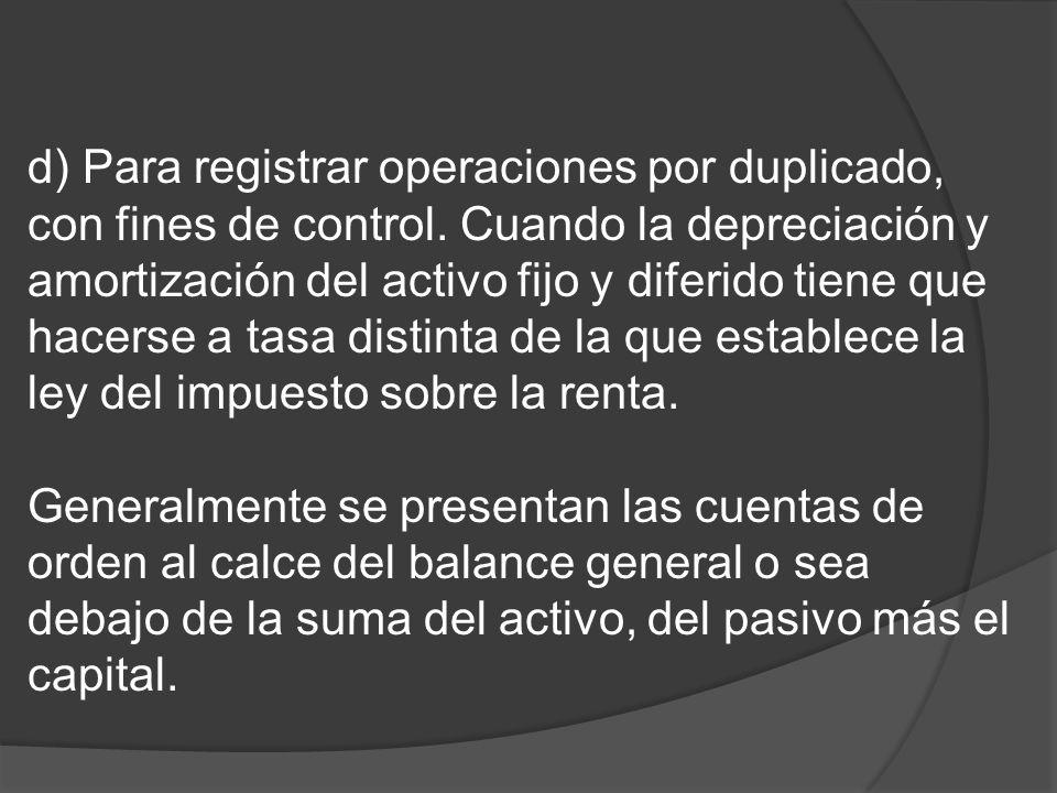 d) Para registrar operaciones por duplicado, con fines de control