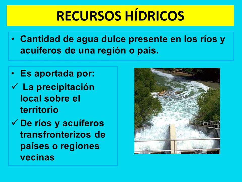 RECURSOS HÍDRICOSCantidad de agua dulce presente en los ríos y acuíferos de una región o país. Es aportada por: