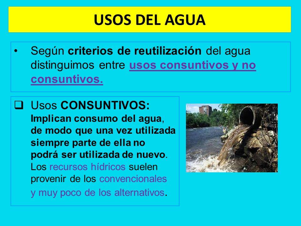 USOS DEL AGUA Según criterios de reutilización del agua distinguimos entre usos consuntivos y no consuntivos.