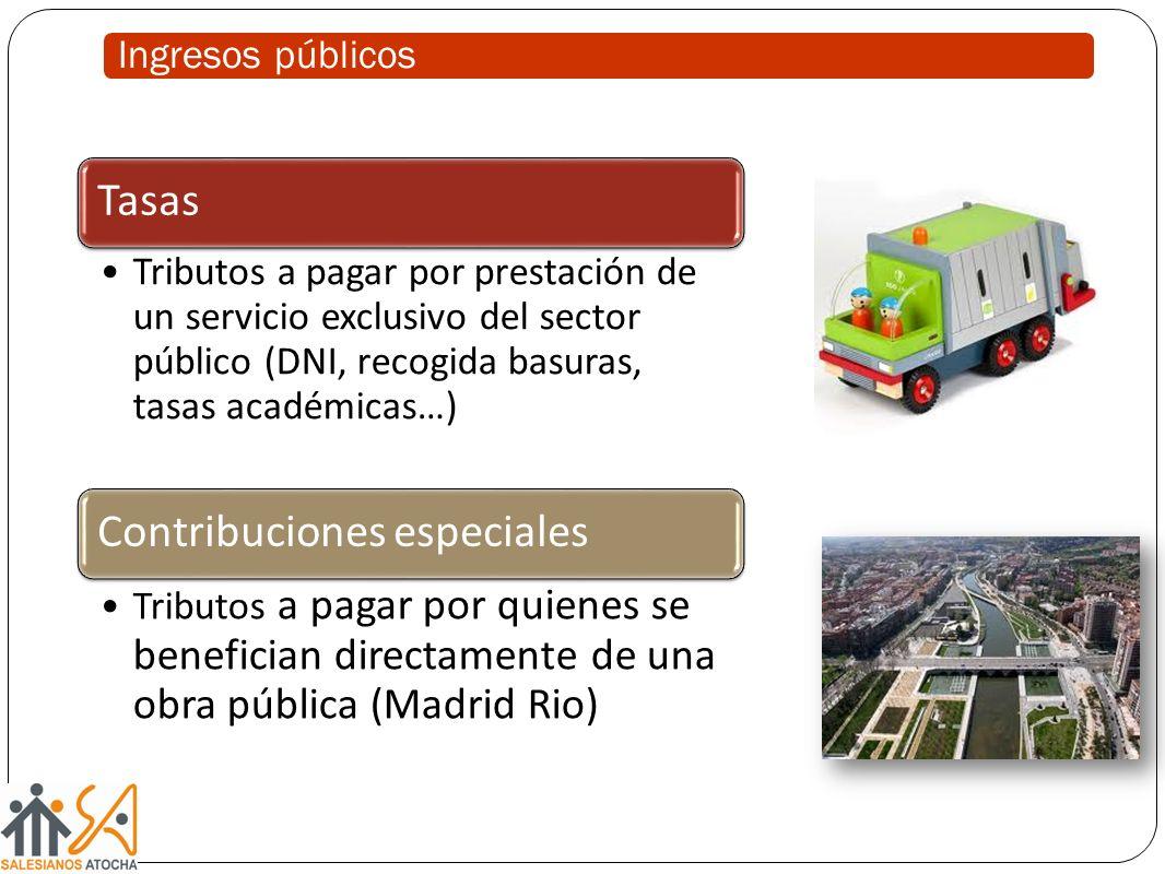 Ingresos públicos Tasas. Tributos a pagar por prestación de un servicio exclusivo del sector público (DNI, recogida basuras, tasas académicas…)