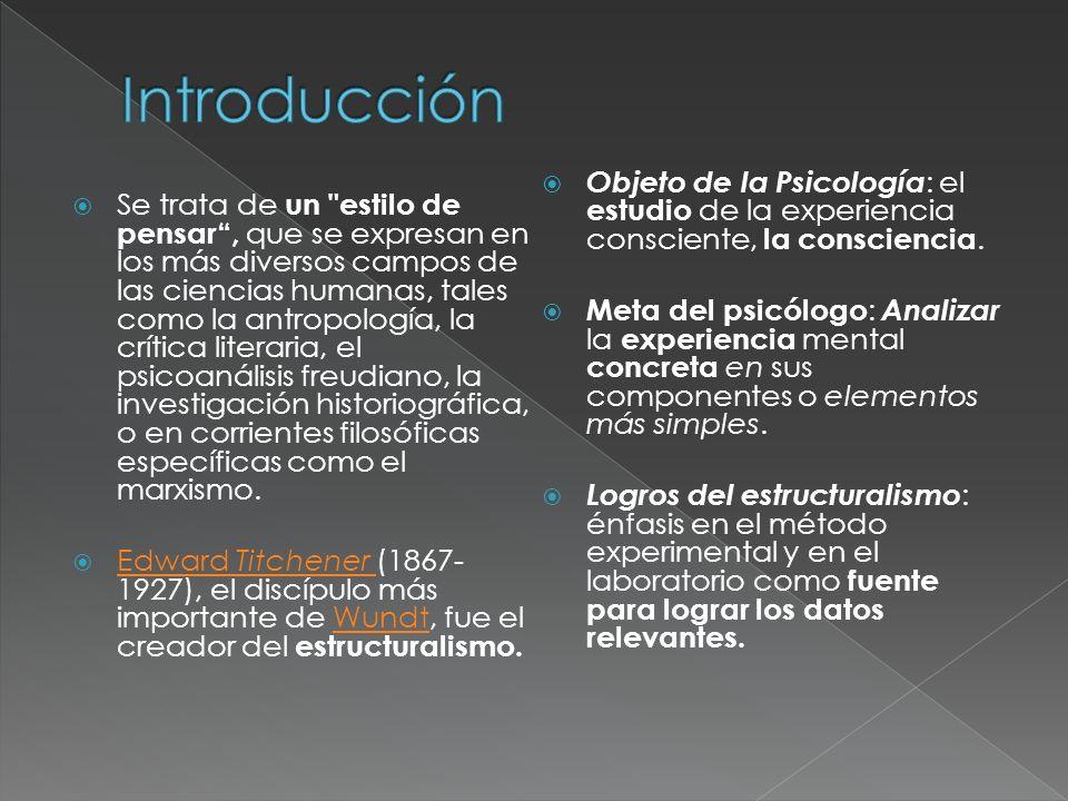 Introducción Objeto de la Psicología: el estudio de la experiencia consciente, la consciencia.