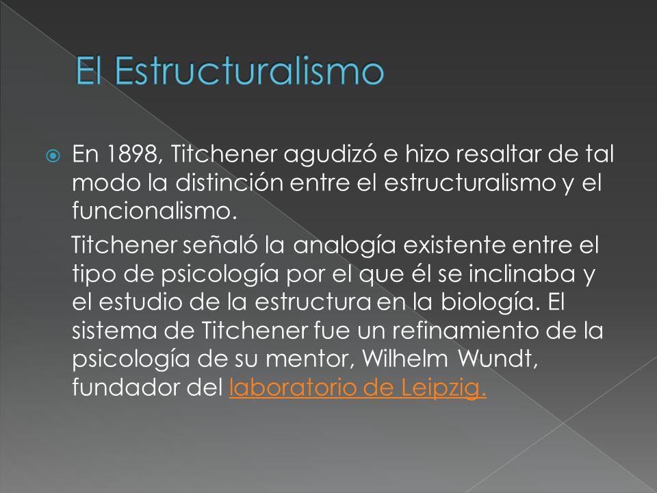 El Estructuralismo En 1898, Titchener agudizó e hizo resaltar de tal modo la distinción entre el estructuralismo y el funcionalismo.