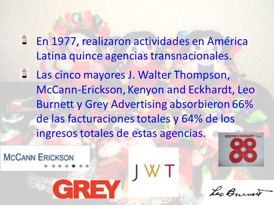 En 1977, realizaron actividades en América Latina quince agencias transnacionales.