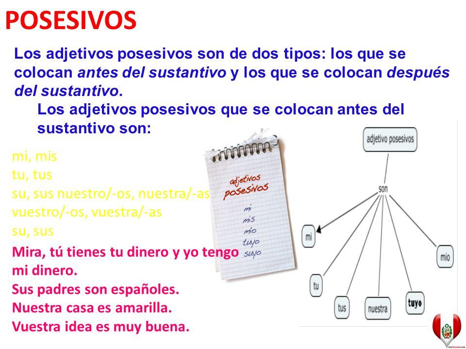 POSESIVOS Los adjetivos posesivos son de dos tipos: los que se colocan antes del sustantivo y los que se colocan después del sustantivo.