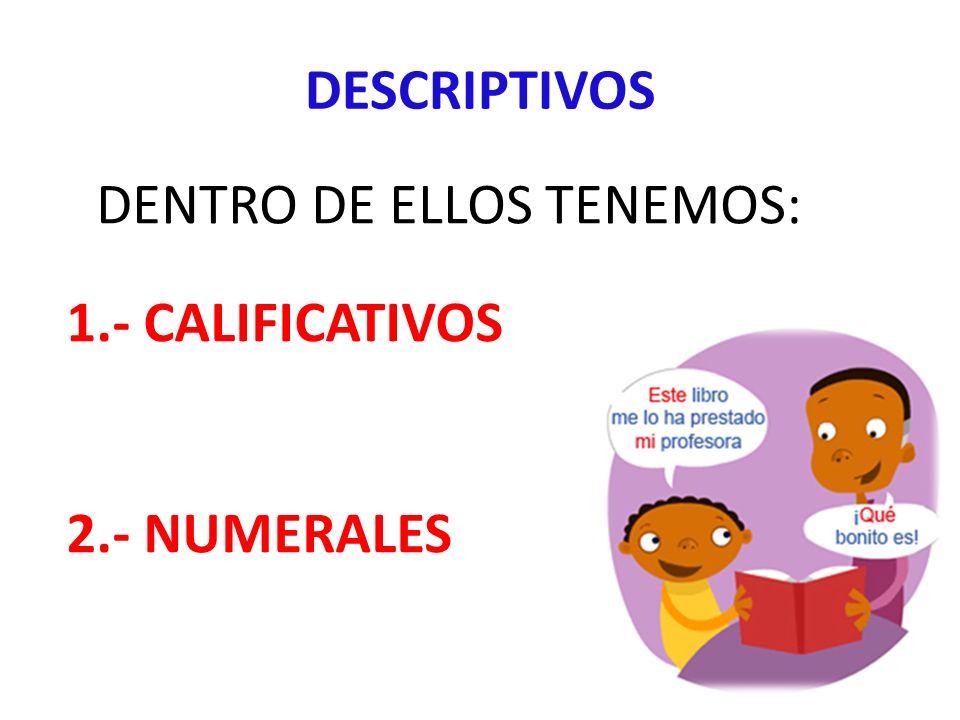 DESCRIPTIVOS DENTRO DE ELLOS TENEMOS: 1.- CALIFICATIVOS 2.- NUMERALES