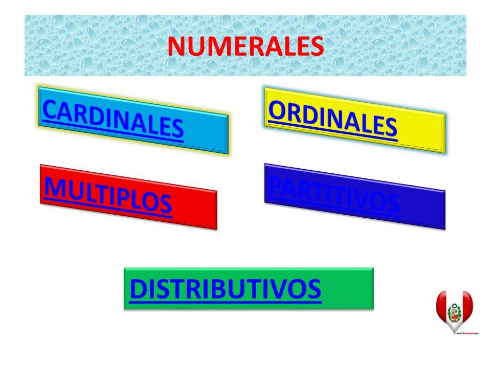 NUMERALES CARDINALES ORDINALES MULTIPLOS PARTITIVOS DISTRIBUTIVOS