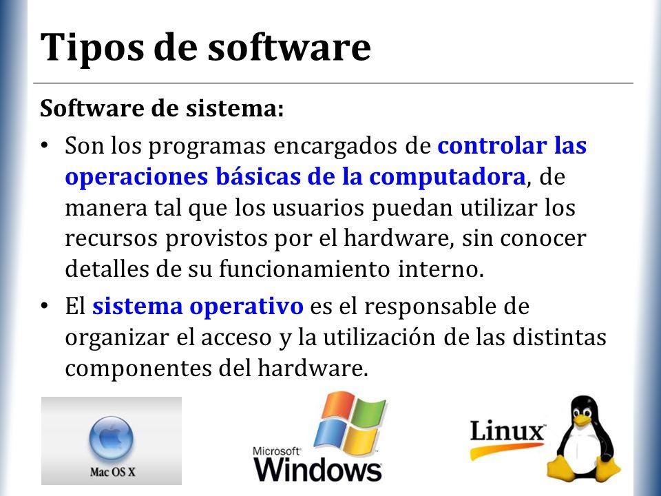 Tipos de software Software de sistema: