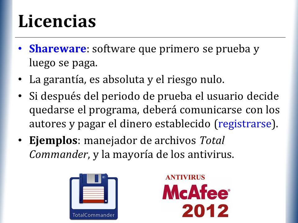 Licencias Shareware: software que primero se prueba y luego se paga.