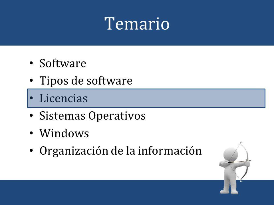 Temario Software Tipos de software Licencias Sistemas Operativos
