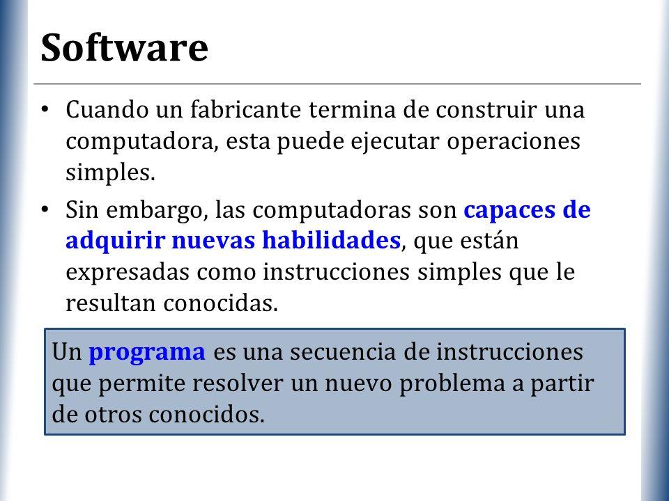 Software Cuando un fabricante termina de construir una computadora, esta puede ejecutar operaciones simples.
