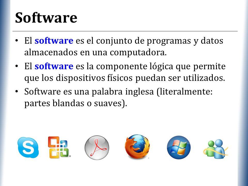 Software El software es el conjunto de programas y datos almacenados en una computadora.