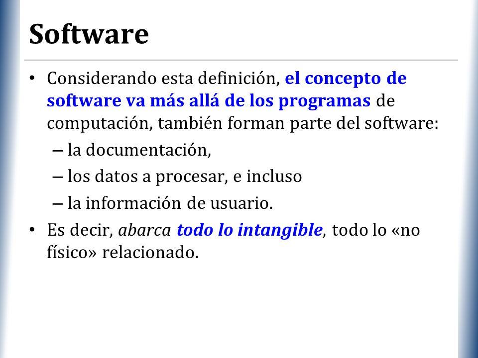 Software Considerando esta definición, el concepto de software va más allá de los programas de computación, también forman parte del software: