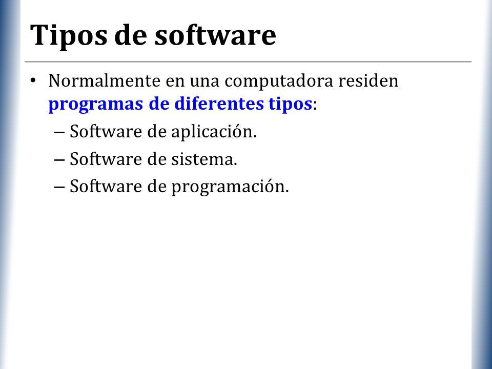 Tipos de software Normalmente en una computadora residen programas de diferentes tipos: Software de aplicación.