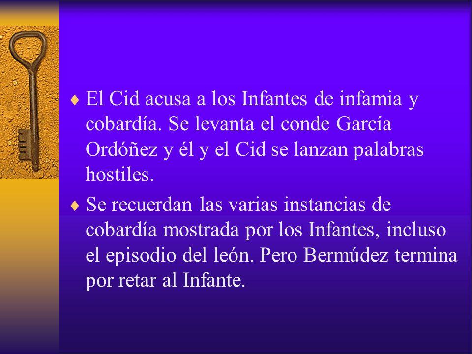 El Cid acusa a los Infantes de infamia y cobardía