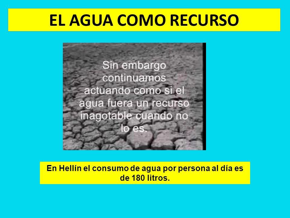 En Hellín el consumo de agua por persona al día es de 180 litros.