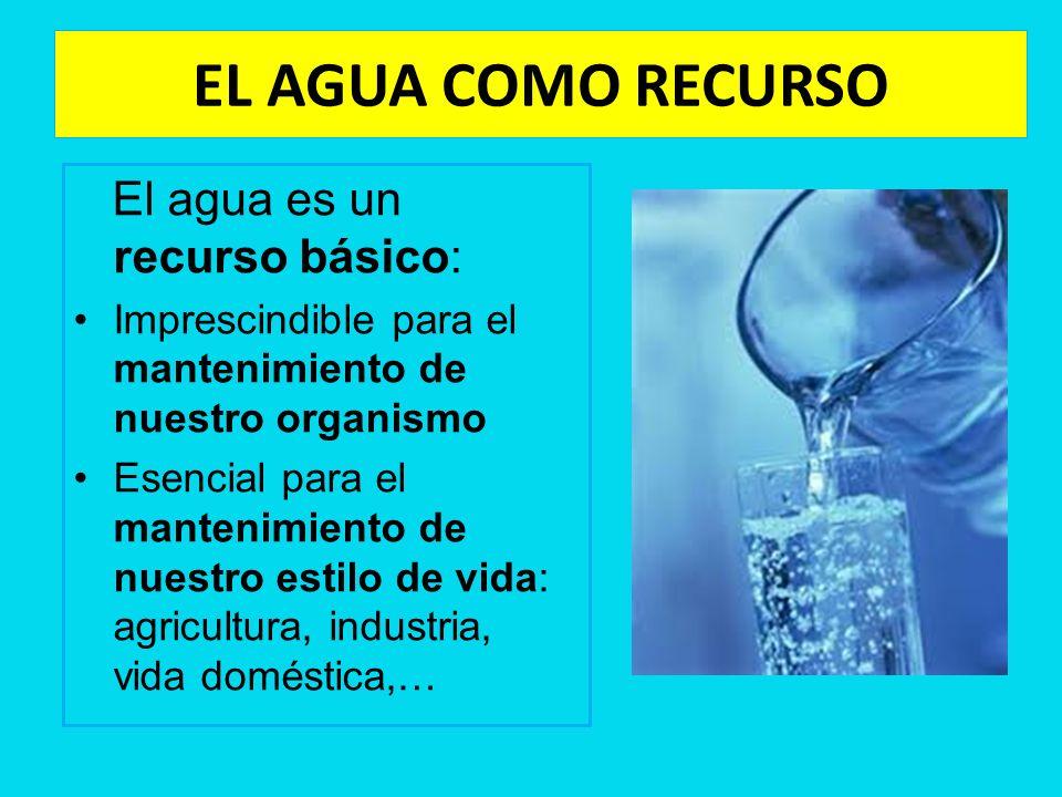 EL AGUA COMO RECURSO El agua es un recurso básico: