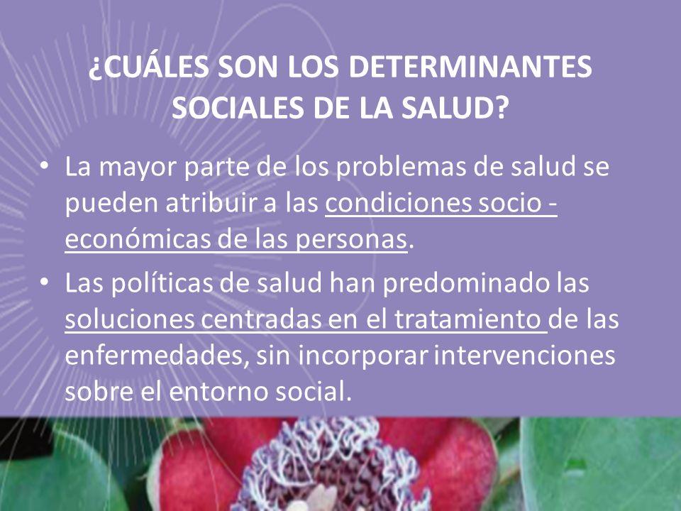 ¿CUÁLES SON LOS DETERMINANTES SOCIALES DE LA SALUD