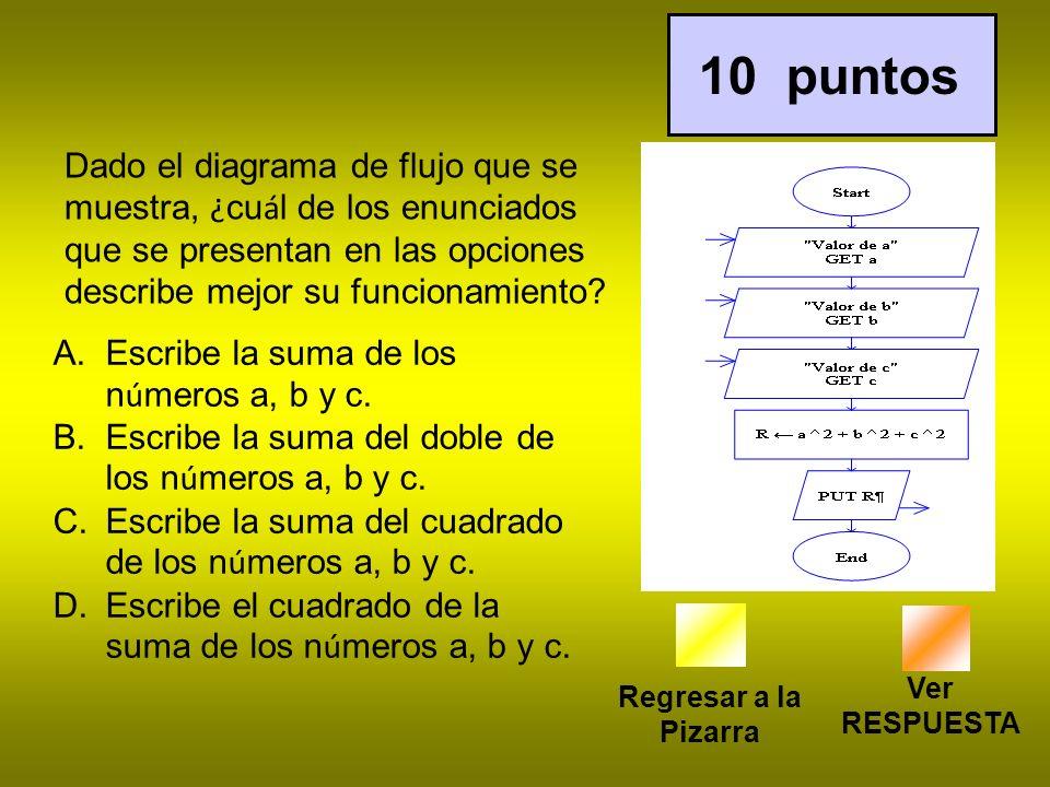 10 puntos Dado el diagrama de flujo que se muestra, ¿cuál de los enunciados que se presentan en las opciones describe mejor su funcionamiento