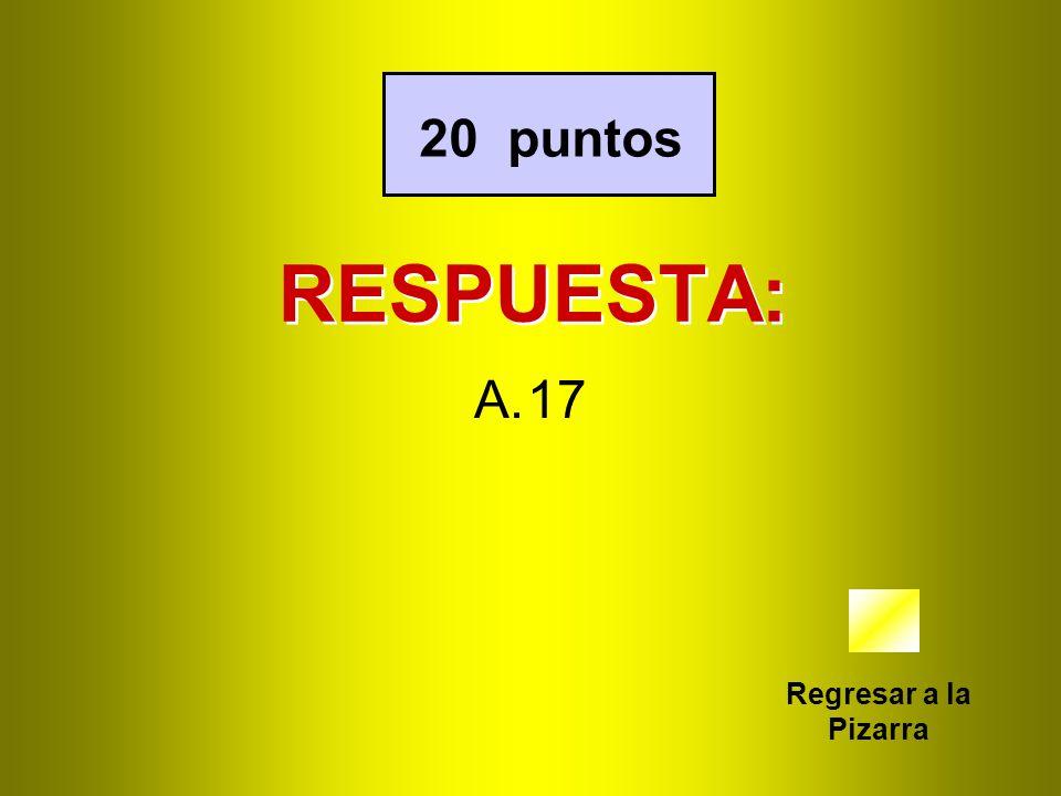 20 puntos RESPUESTA: 17 Regresar a la Pizarra
