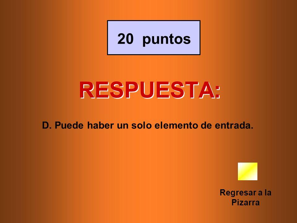 RESPUESTA: 20 puntos D. Puede haber un solo elemento de entrada.