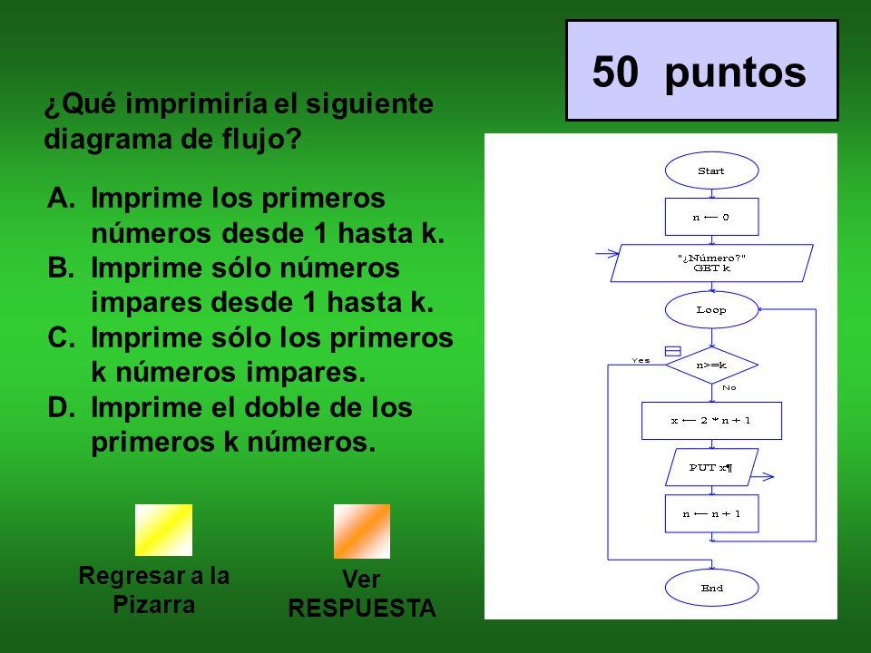 50 puntos ¿Qué imprimiría el siguiente diagrama de flujo