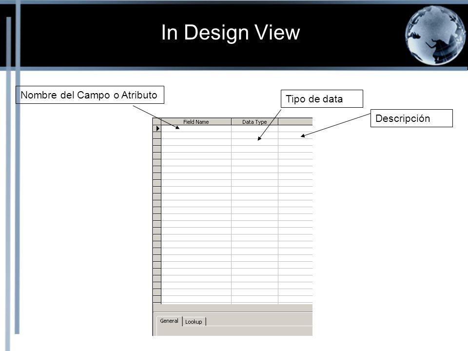 In Design View Nombre del Campo o Atributo Tipo de data Descripción