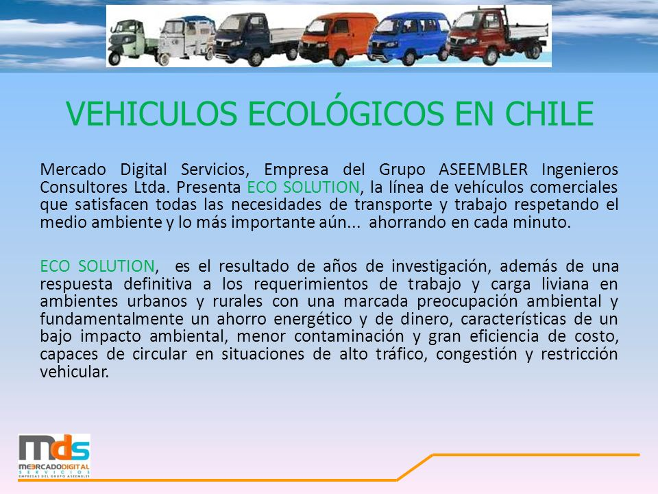 VEHICULOS ECOLÓGICOS EN CHILE